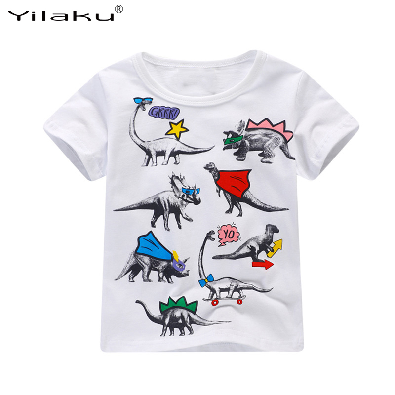 Yilaku Boys T Shirt White Short Cotton Shirt Boys Clothes Summer Kids Tees Cartoon Dinosaur T-shirt Clothing for Kids CG326 new 2017 cotton little girls shirt off the shoulder white t shirt kids top children clothes tolder clothing kids summer blouse