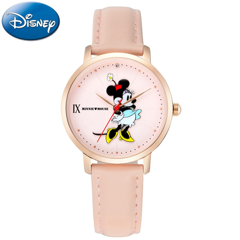 Minnie Mouse Womens Leather Band Quartz Watches Ladies Fashion Simple Waterproof Watch Steel Back Genuine Design Disney 11181