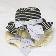 2019 New Girl Wave Side Straw Hat Summer Sun Hat For Girls Foldable Holiday Casual Outdoor Beach Caps Wide Cap Child girls wave trim straw hat