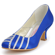 Blue Women's Shoes EP11007 Closed Toe Rhinestone 2″ Spool Heel Satin Evenng Party Pumps Prom Shoes
