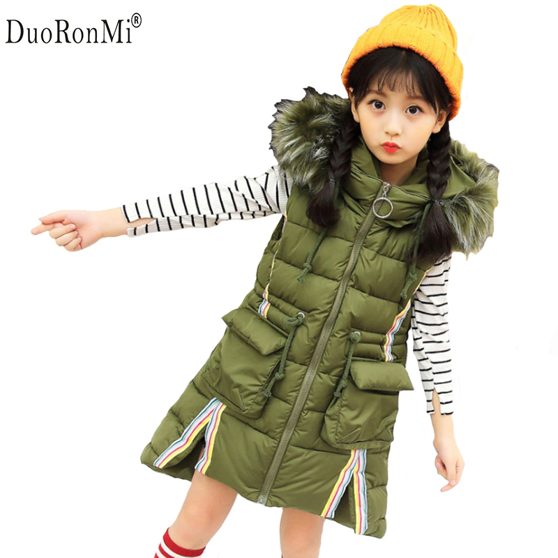 Winter Baby Girls Warm Vest Girls Thick Hooded Waistcoat Kids Warm Outerwear Big Hair Hat Long Vests Cotton Pad Clothes