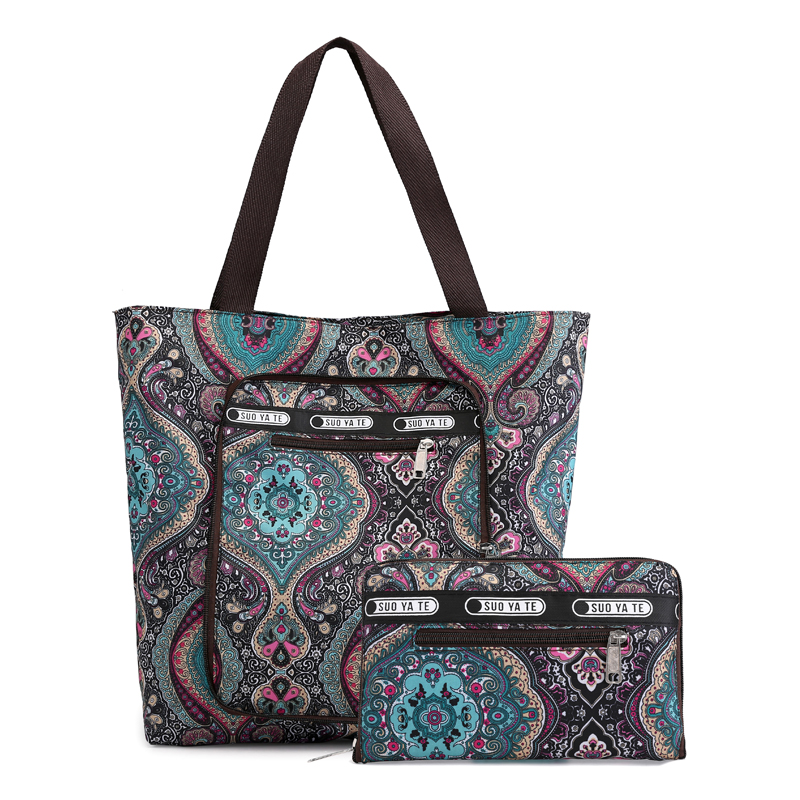 2019 large Capacity Women Reusable Foldable Shopping Bag Nylon Big Lady tote bag Floral Grocery Pouch Recycle Organization Bag tote bag