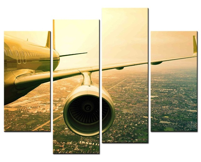 Hot Sales Without framed 4 panel image aircraft flying canvas ...