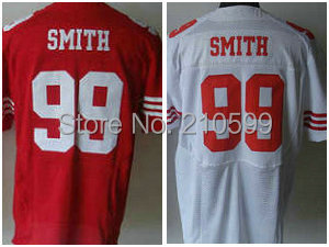 Authentic Elite Aldon Smith Jersey sz 40-56 Red White #99 Niners Embroidery Name N Number Man Also Sell Baseball T-shirt