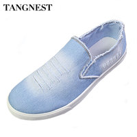 Tangnest New Autumn Men Jeans Shoes Vintage Washed Denim Canvas Shoes Man Casual Flat With Loafers