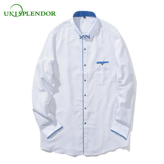 3aae8f0bc5b8b8 Unisplendor 2018 Brand Men Fashion Casual Long Sleeve Shirt Printed Slim  Fit Man Clothing Male Social Business Dress Shirts YY86