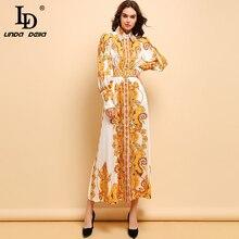 LD LINDA DELLA Autumn Fashion Runway Maxi Dress Women's Long Sleeve Belted Gorgeous Printed Elegant Holiday Vintage Long Dress цена и фото