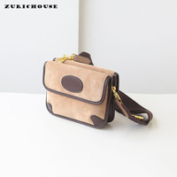 ZURICHOUSE 2019 Women's Shoulder Bag Scrub Genuine Leather Luxury Fashion Contrast Color Design Wide Strap Crossbody Bags Ladies