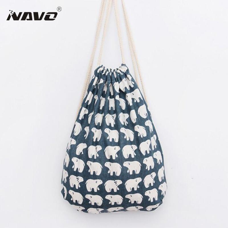 Aliexpress.com : Buy Fresh Style Polar Bear Print Draw String Bag ...