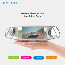 "ANLUD Car DVR 5.0"" Dual Lens Dashcam GPS Dash Camera 1080P Rear View Mirror Monitor Auto Video Recorder Dash Cam Car Camera DVR"