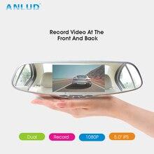 """Anlud Видеорегистраторы для автомобилей 5.0 """"Двойной объектив dashcam GPS тире Камера 1080 P зеркало заднего вида Мониторы Авто Видео Регистраторы регистраторы автомобиль Камера DVR"""