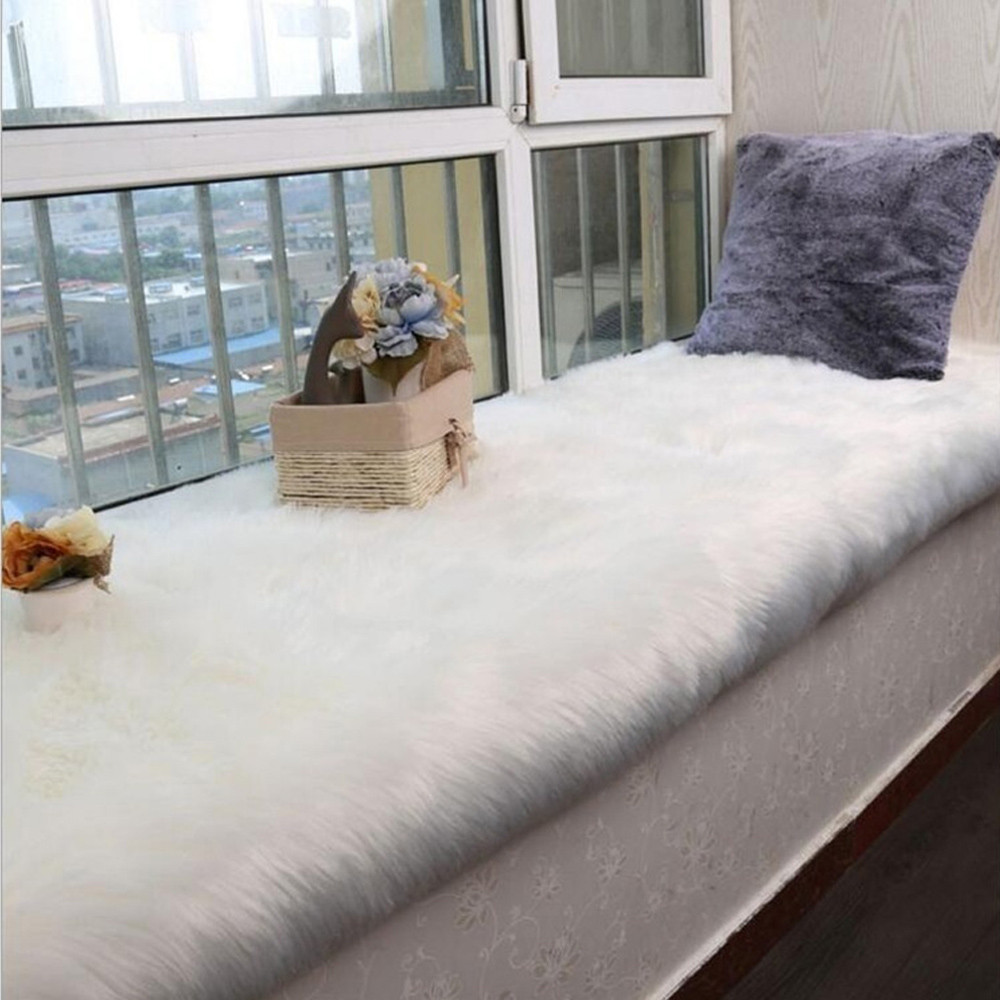 Sheepskin Chair Covers Us 7 53 41 Off Faux Sheepskin Chair Cover White Warm Hairy Wool Carpet Seat Pad Long Skin Fur Plain Fluffy Area Rugs Washable 2018 Hot Sale K5 In
