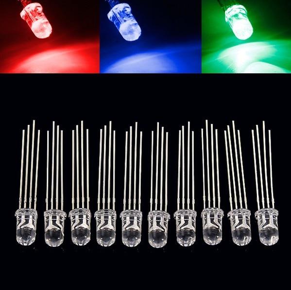 50 шт. 5 мм полноцветный светодиодный RGB красный/зеленый/синий общий катод/анод четыре фута прозрачный высокий светильник цветной светильник ...