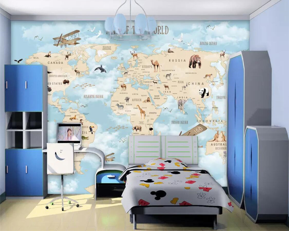 Купить с кэшбэком beibehang Custom children's room wall 3d wallpaper cartoon airplane sailing animal world map background wall murals 3d wallpaper