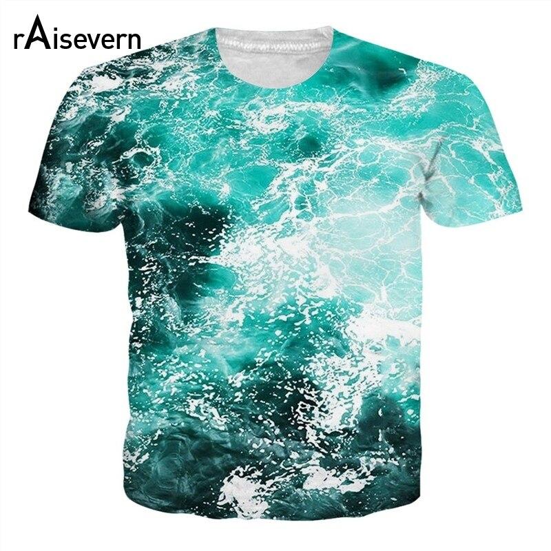91feb23de Raisevern 2018 Verão Nova Moda 3D Camiseta Belo Mar Azul Onda HD Impressão  Das Mulheres Dos Homens T-Shirt Camisetas Tops Tees dropship