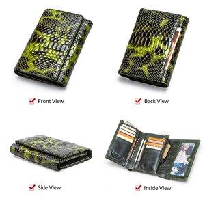 Image 3 - Monedero con diseño de serpiente a la moda para mujer, billetera larga de cuero genuino para mujer, monederos para teléfono para niña, tarjetero, bolso de mano tipo monedero