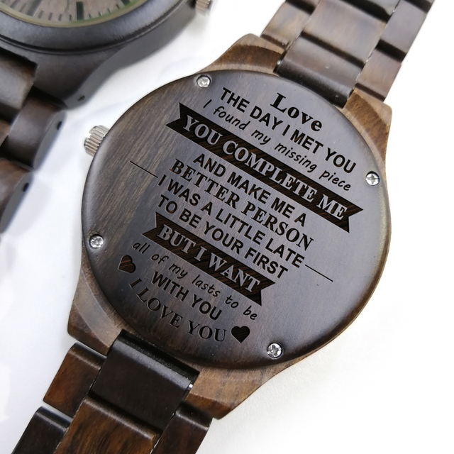 YOU ARE THE MISSING PIECE - FOR BOYFRIEND ENGRAVED WOODEN WATCH 2