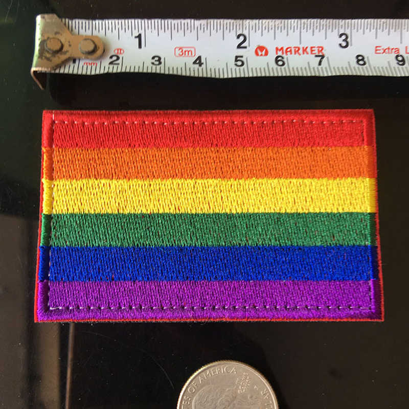 LGBT Rainbow Vlag Borduren patch Magic sticker klittenband patches voor kleding naaien applique DIY GAY Lesbische Badges naaien