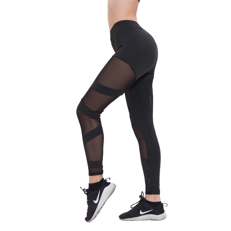 Black Sexy Mesh Leggings For Fitness Legging Legins Woman Leggins Mujer Elastic Fitness Jeggings Leginsy Women Activewear