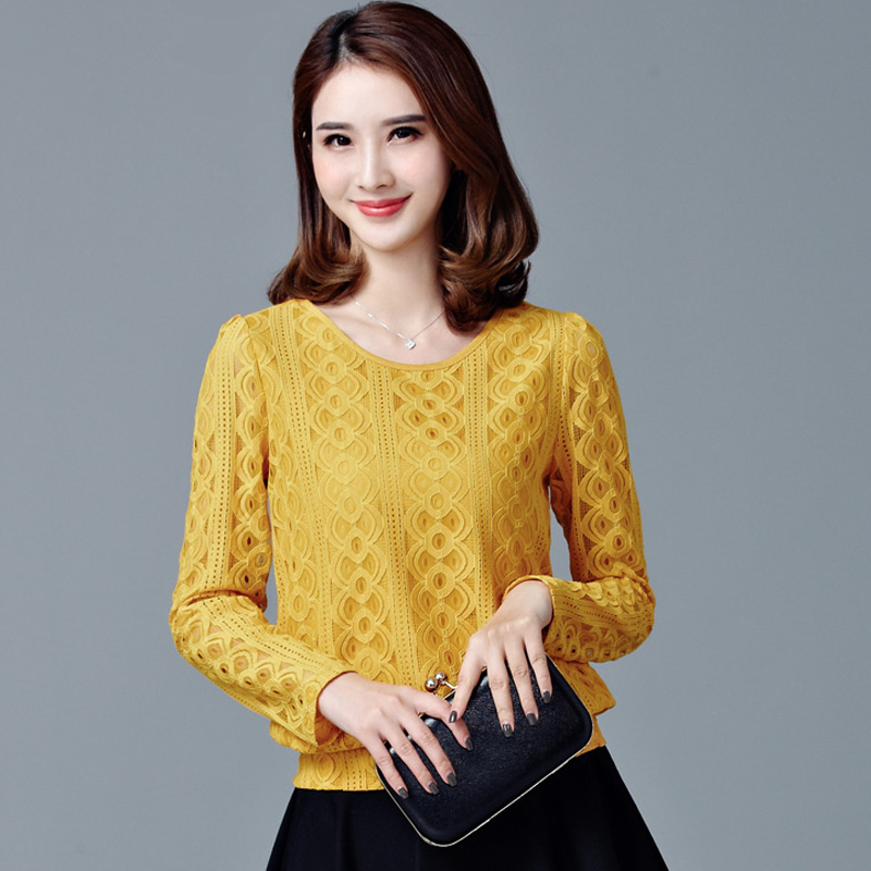4XL Plus Size Lace Blouse 2017 New Spring Autumn Women Black Yellow Top  Shirt Fashion Long - High Quality Yellow Lace Blouse-Buy Cheap Yellow Lace Blouse Lots
