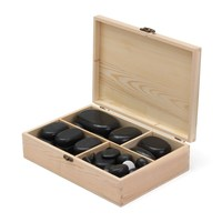 50pcs/set Natural Black Basalt Hot Stone Energy Massage Spa Rock Basalt stone With Wood Box For Body Health Care Relaxation