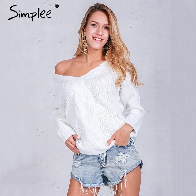 Simplee Inverno branco escavar pulôver de malha camisola das mulheres 2016 Outono manga longa Sexy fora do ombro camisola jumpers