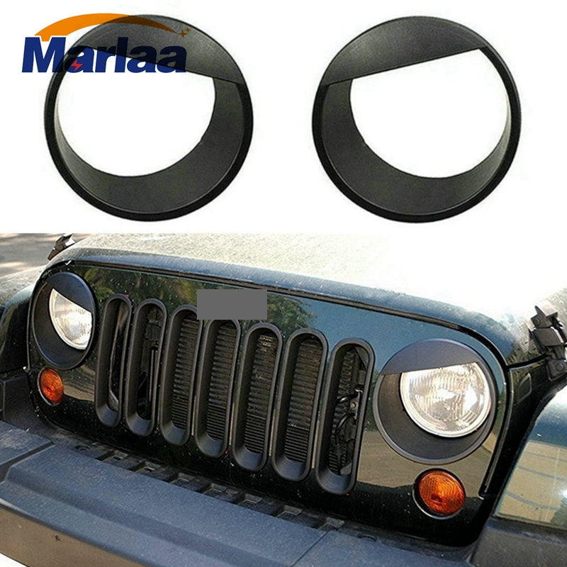 Jeep Wrangler Accessories 2017 >> Us 13 45 10 Off Angry Eyes Black Bezels Front Light Headlight Trim Cover Abs For Jeep Wrangler Accessories Rubicon Sahara Jk 2007 2017 In Car Light