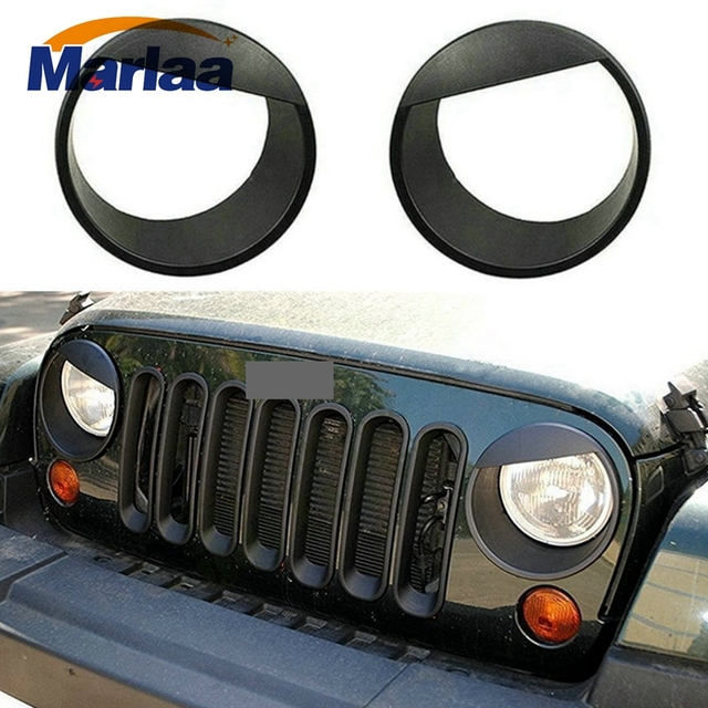 Angry Eyes Black Bezels Front Light Headlight Trim Cover Abs For Jeep Wrangler Accessories Rubicon Sahara Jk 2007 2017