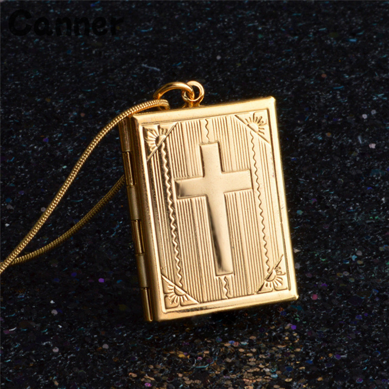 Canner Cross Box Frame Pendants Necklaces For Men Women Silver Gold Color Can Open Photo Frames Necklace Jewelry Lover Gift in Pendant Necklaces from Jewelry Accessories