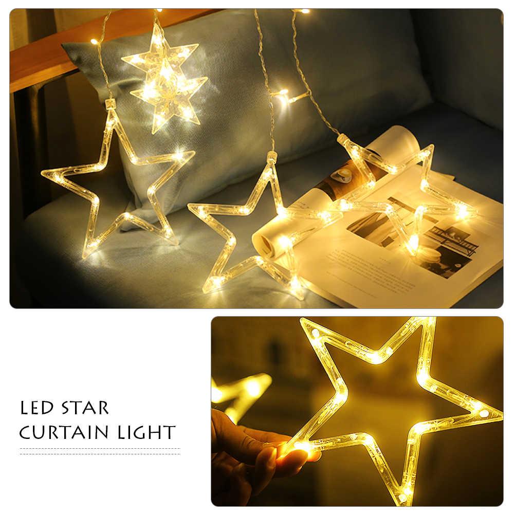 LED String Lights Pentagram Star Curtain Light Fairy Wedding Birthday Christmas Lighting Indoor Decoration Light 110V 220V