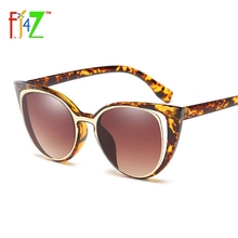 F.J4Z Fashion Cat Eye Sunglasses Women Brand Designer Retro Pierced Female Sun Glasses oculos de sol feminino UV400 Protection