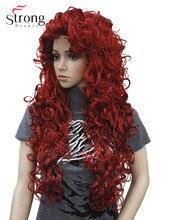 Strongbeauty 긴 곱슬 빨간 합성 가발 코스프레 가발 색상 선택