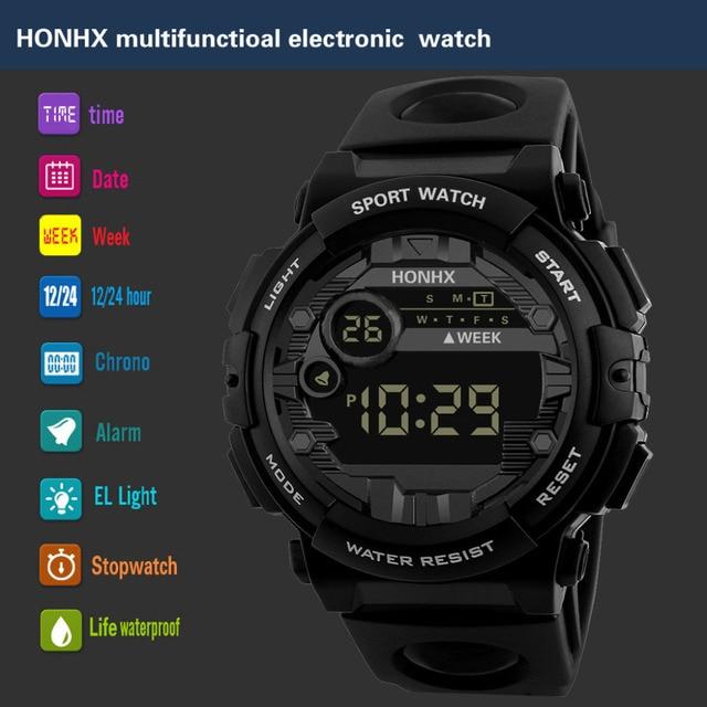2019 New Luxury HONHX Mens Digital LED Watch Digital Date Alarm Waterproof Sport Men Outdoor Electronic Watch Clock Dropshipping