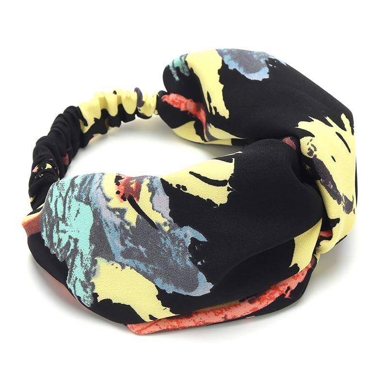 LIBAOLONG New Design Women Girls Cloth Turban Headband Flowers Print Fashion Headwear Floral Crossed Elastic Hair Band
