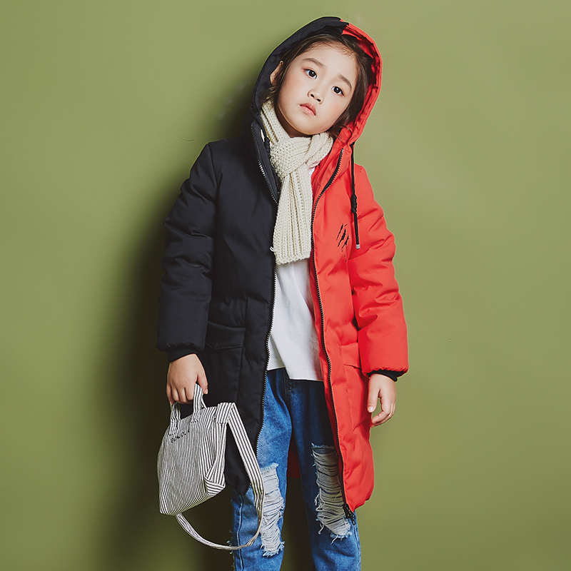 YH-1818 Fashion Winter Girl Splice Color Thick Coat Long Children Duck Down Jacket Warm Hooded Teenage Kids Parka Boy Outerwear 2015 new hot winter thicken warm woman down jacket coat parkas outerwear hooded splice mid long plus size 3xxxl luxury cold
