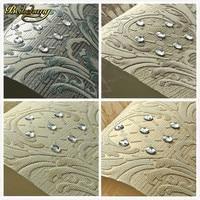 European Luxury Diamond Crystal 3D Wallpaper 3D Flocking Non Woven Wallpaper Roll Living Room TV Wall