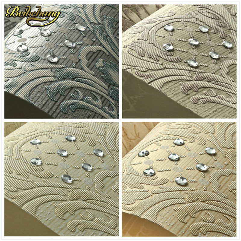 beibehang European Luxury Diamond Crystal 3D Wallpaper Flocking Non-woven Wallpaper Roll,Living Room TV Wall Paper Roll Floral
