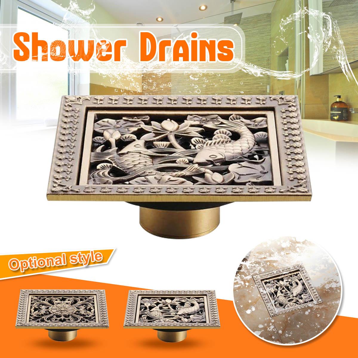 12x12cm Bathroom Shower Drain Square Floor Drain Strainer Hair Antique Brass Art Carved Bath Kitchen Rubbish Filtering organizer