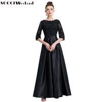 Weekend SOCCI Vintage Suknie Wieczorowe 2017 Muzułmaninem Lady Lace Satin Długi formalna Prom Party Dress Kobiet Lace Up Powrót Suknie Robe de