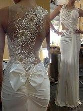 robe de mariage Ensotek Sheer Neck Beaded Pearls Back Sheath Wedding Dresses Elegant Bridal Gowns vestido noiva Customized