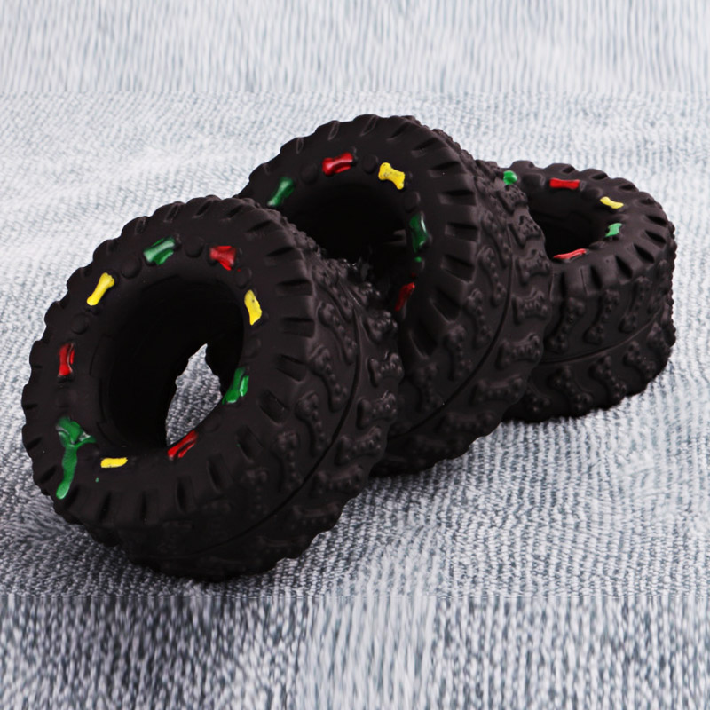 1 PC Hot Selling 8*4cm Pet Dog Cat Animal Chews Squeaky Sound Rubber Tire Shape Dog Toy Tire Pet Toys