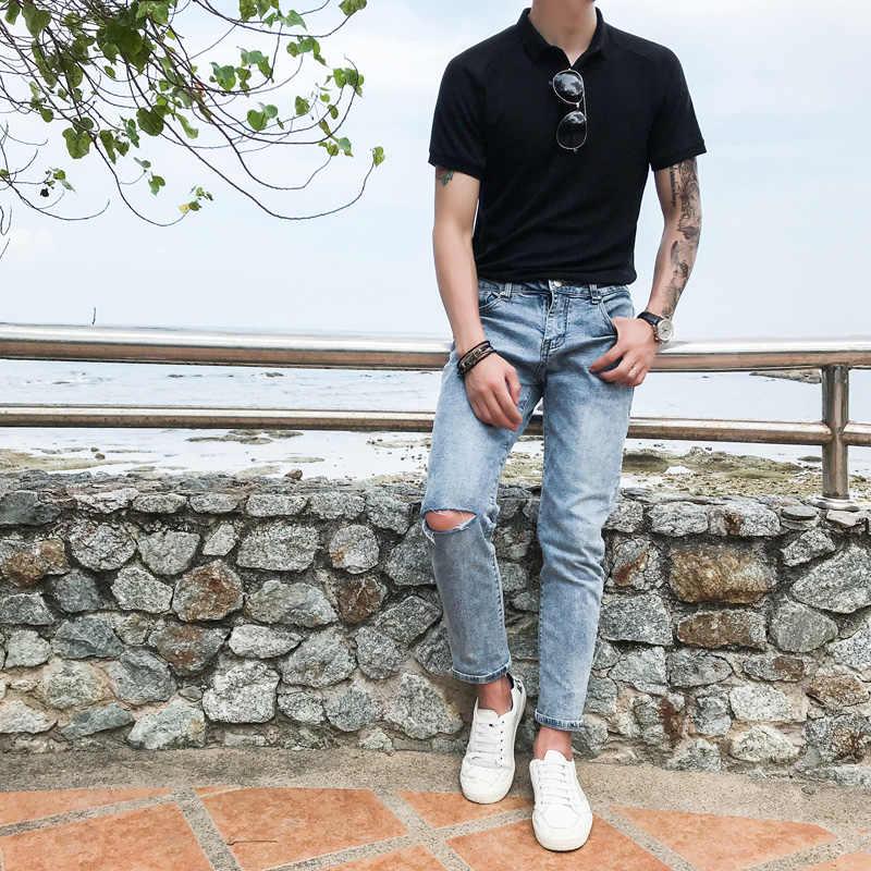 British Men Polo Shirt Fashion 2019 Summer Short Sleeve Polo Homme Turn Down Collar Slim Fit Business Formal Polo Shirt Men 3XL