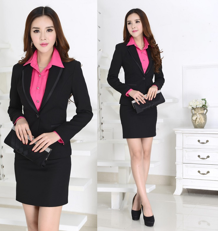 60a31031f3e New 2015 Elegant Black Autumn Winter Fashion Slim Women s Skirt Suits Jacket  And Skirt Uniform Blazer Sets Fall Work Wear Suits-in Skirt Suits from  Women s ...