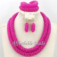 Fuschia African Jewelry Set Popular Costume Jewelry Set Unique Design Wholesale Free Shipping BN364