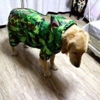 Kamuflaj Orta ve Büyük köpek yağmurluk dört bacaklar tulum köpek yağmur mont çekiş Ile delik Pet su geçirmez giysi köpek panço