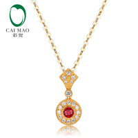 CAIMAO Vintage Necklace Natural Red Ruby Diamonds Milgrain 18kT Yellow Gold Chain Pendant Fine Jewelry for Anniversary