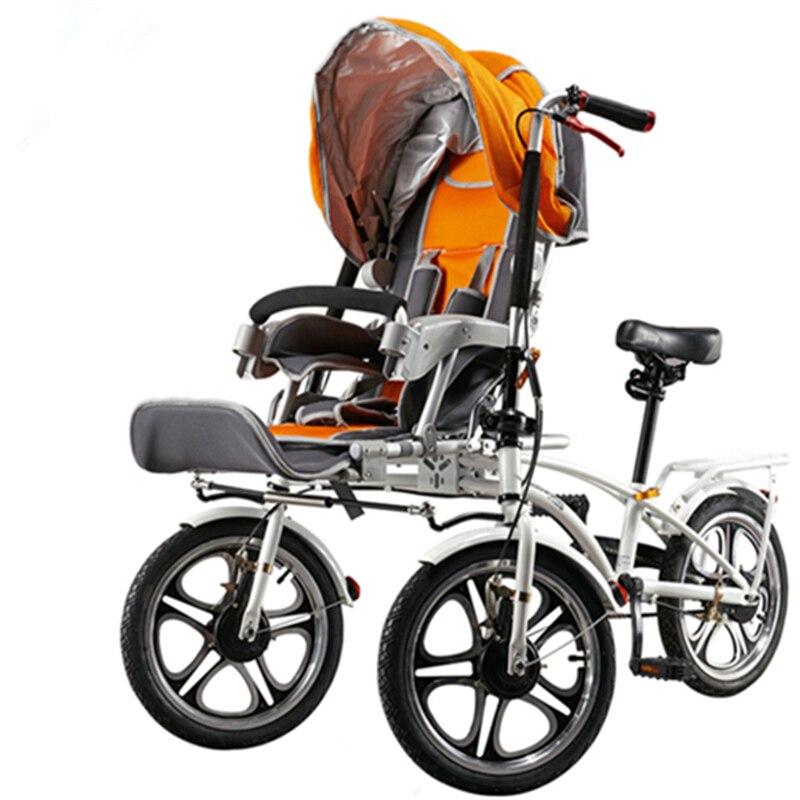 16 pouces 3 roues mère bébé poussette poussette pliante porte-vélo, mère et bébé Tricycles, 1 siège pour bébé 1 siège pour adulte