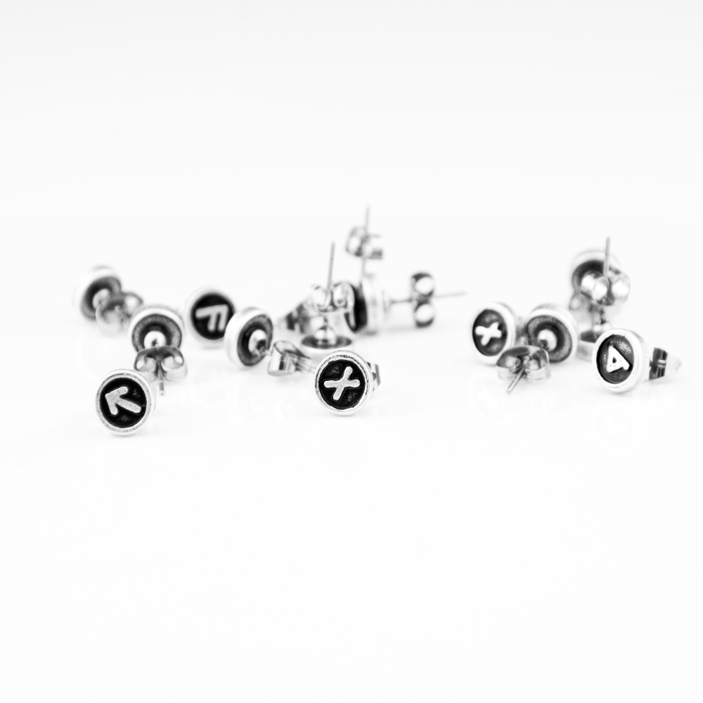 1pair Antique Silver Viking Rune Stud Earring For Women Men Round Coin Stud Tiny Dainty Earring