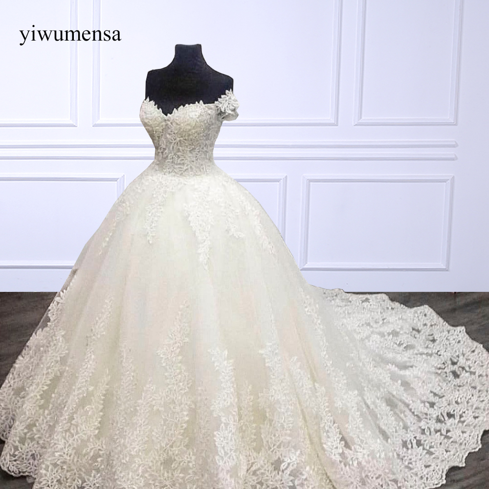 Yiwumensa robes de mariée dentelle applique robe de Mariée 2018 de l'épaule robes de noiva gelinlik Dentelle Up robes de mariée