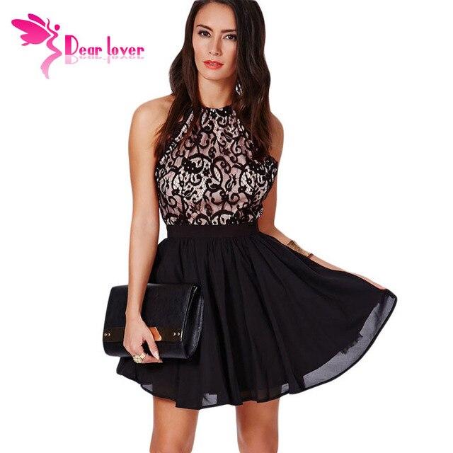 Dear Lover Summer vestidos femininos Sexy Sleeveless Chiffon Prom Black  Cross Back Lace Detail Party Skater b245f4742f12